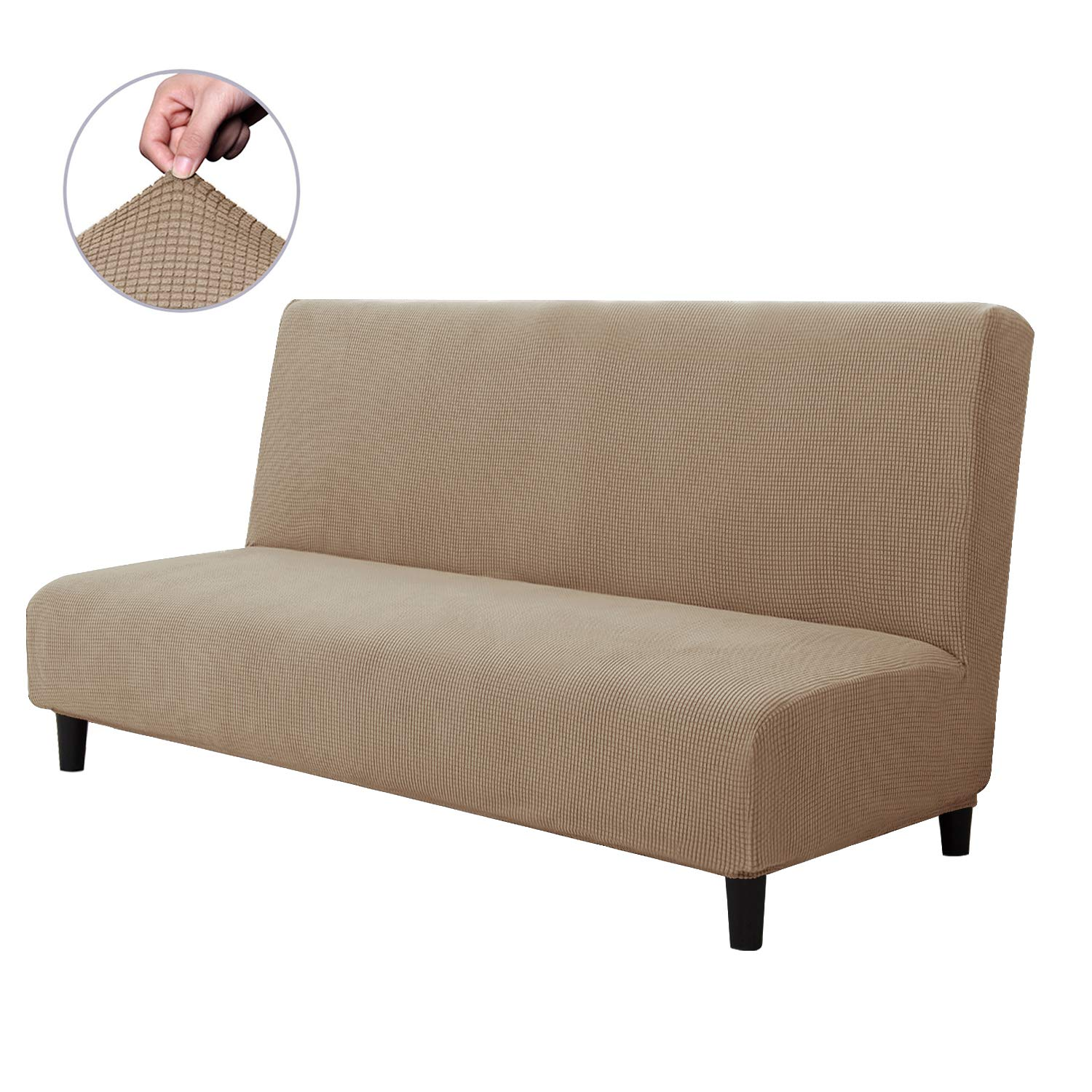 CHUN YI Armless Sofa Slipcover Elastic Fitted Full Folding Sofa Bed Cover Without Armrests,Removable Machine Washable Non-Slip Furniture Protector for Futon Couch Bench (Sofa, Gray)