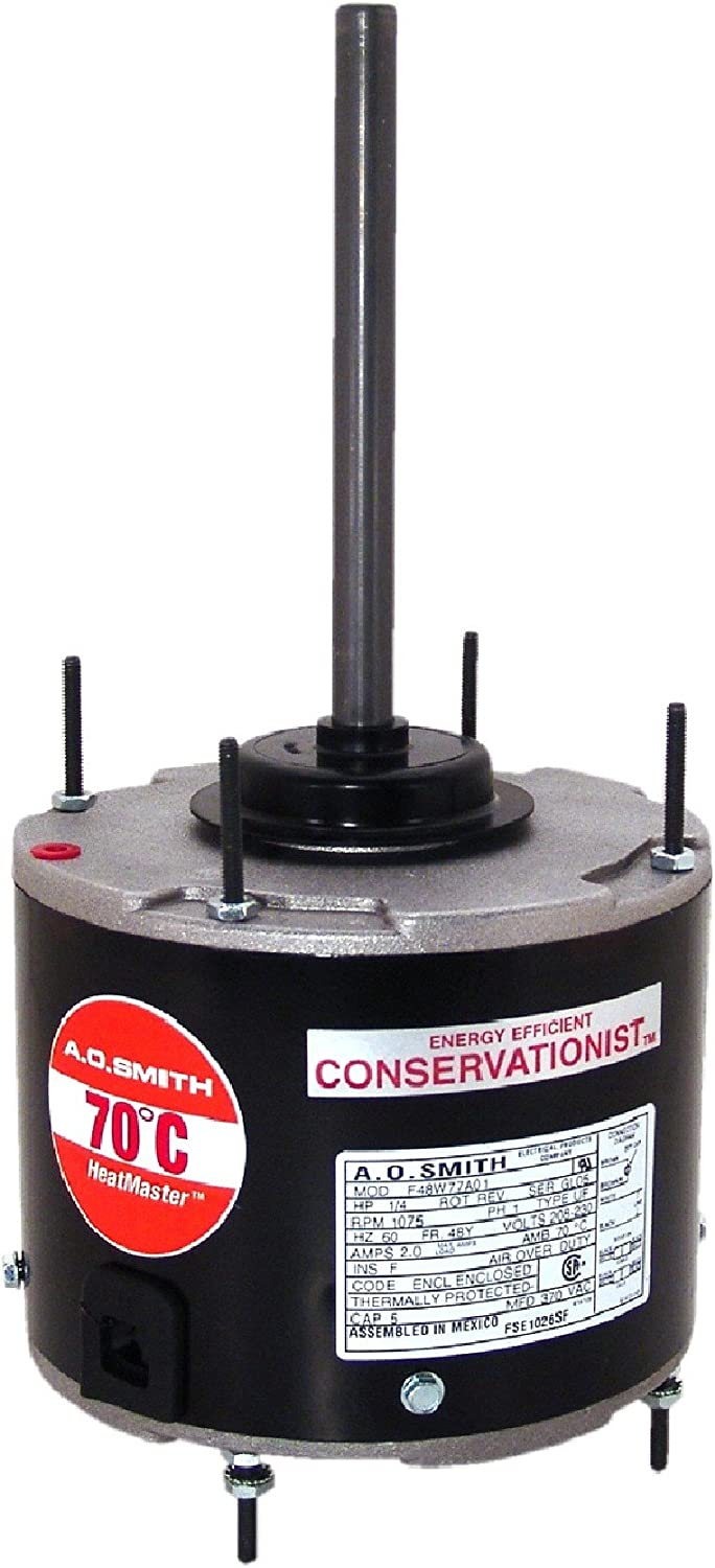 A.O. Smith FSE1038SF 1/3 HP, 825 RPM RPM, 825 volts Volts, 2.1 Amps, 48 Frame, Sleeve Bearing Condenser Motor