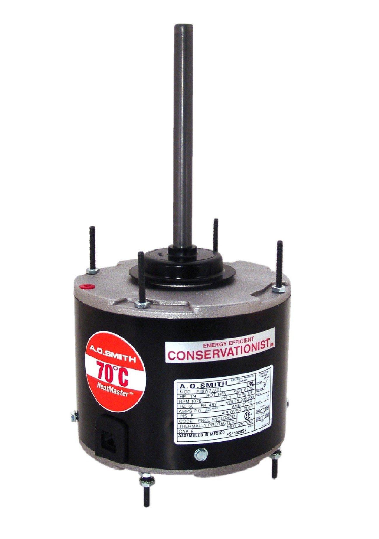 A.O. Smith FE1056SF 1/2 HP, 1075 RPM, 208-230 volts, 4 Amps, 48 Frame, Ball Bearing Condenser Motor