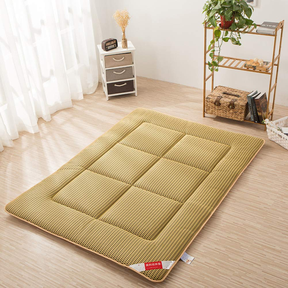 C 180x200cm(71x79inch) Breathable Thin Light Mattress Topper Cover, Summer use Foldable Sleeping Tatami Pad Bed roll for Student Dormitory Home-A 120x200cm(47x79inch)