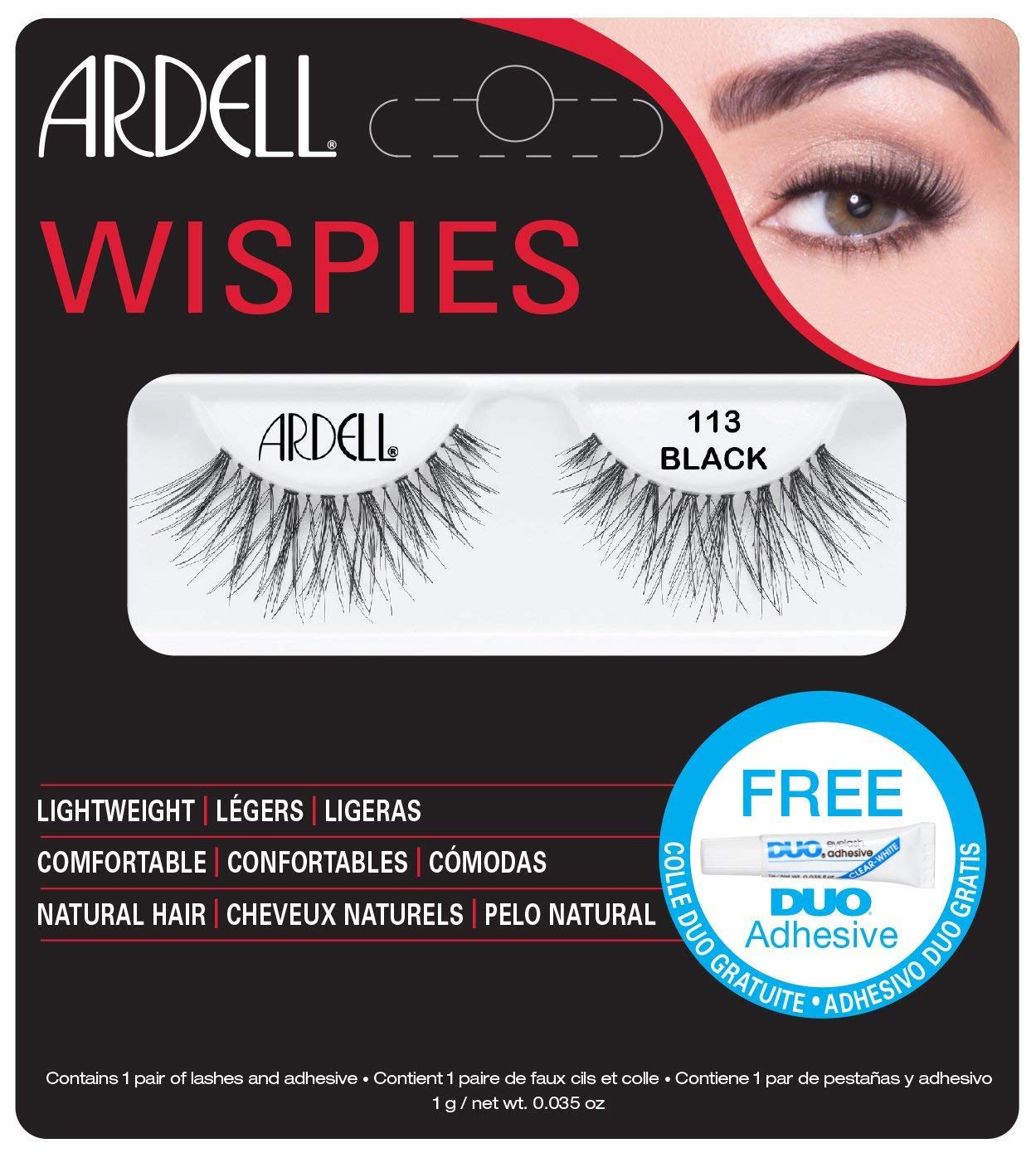 Ardell Lashes Wispies 113 with Free DUO Glue AII61310B-1