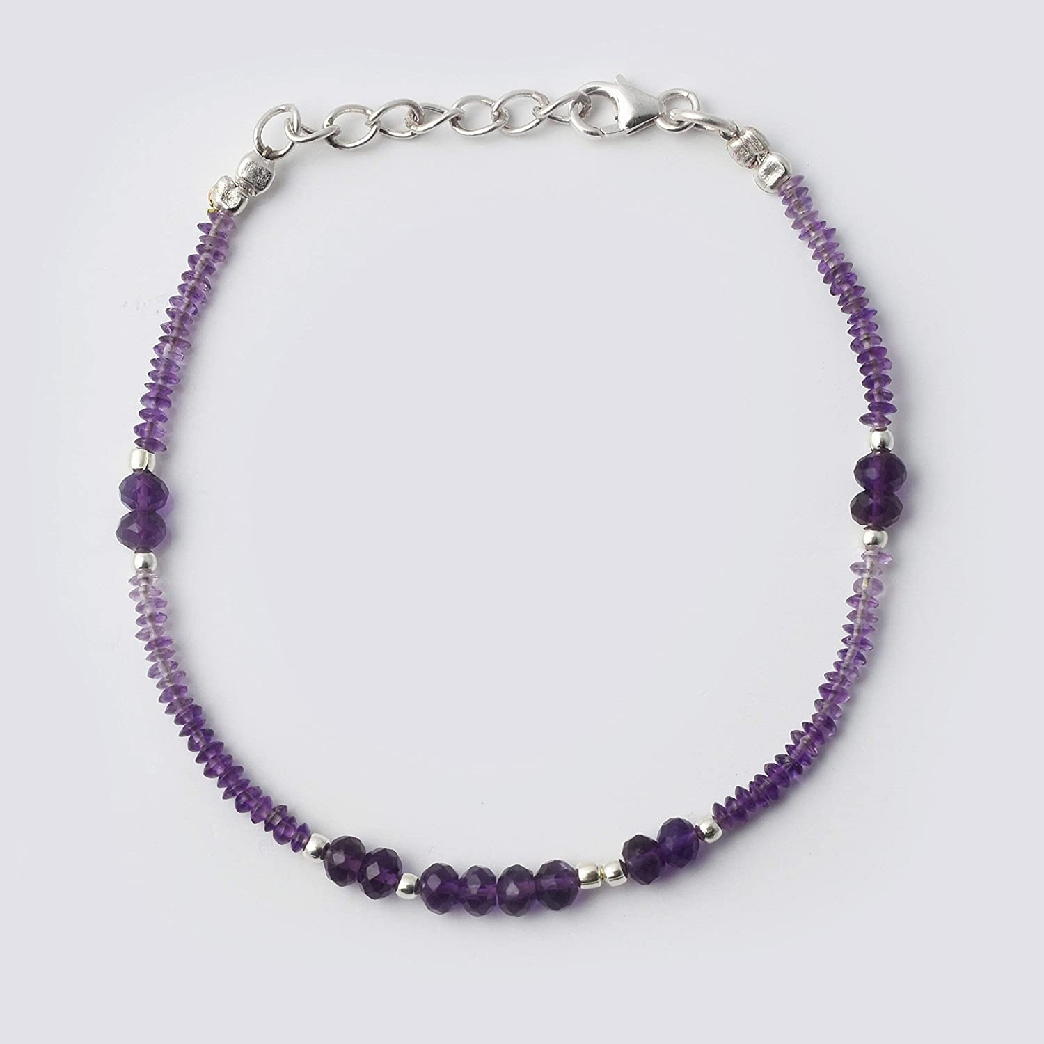 Natural Amethyst Saucer Rondelle Beads Bracelet with Sterling Silver Findings 6.50 Gemstone Jewelry