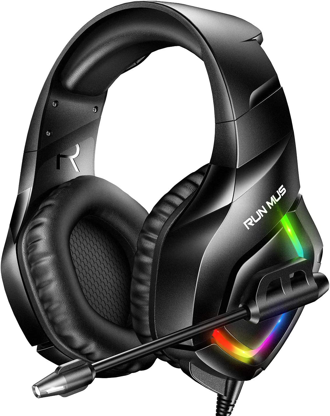 RUNMUS Gaming Headset PS4 Headset with 7.1 Surround Sound, Xbox One Headset with Noise Canceling Mic & RGB Light, Compatible w/ PS4, Xbox One(Adapter Not Included), PC, Laptop NS Game Boy Advance