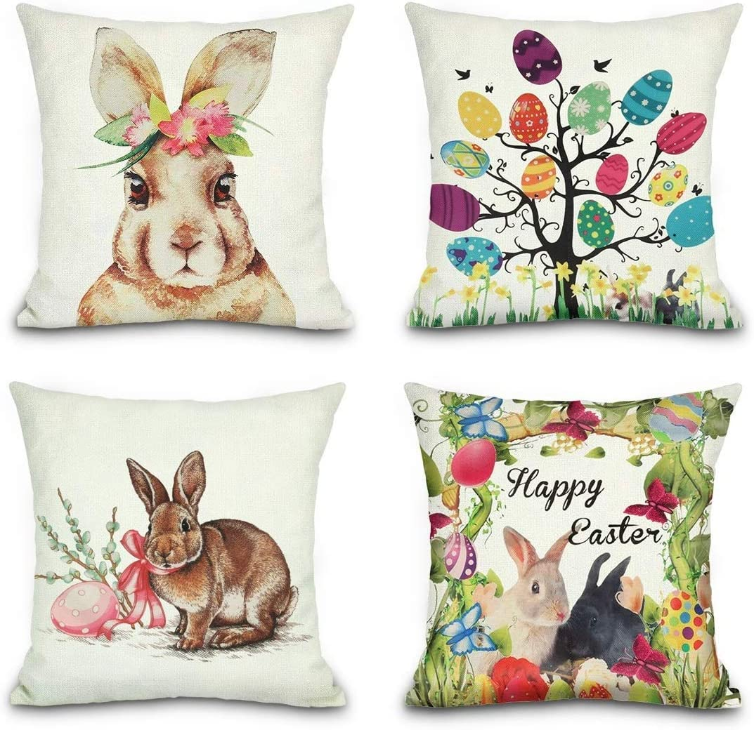 Throw Pillow Covers Colored Spring Rabbit Printed Decorative Pillow Case Cushion Cover Home Decoration Cotton Linen Pillowcases 18 x 18 Inch