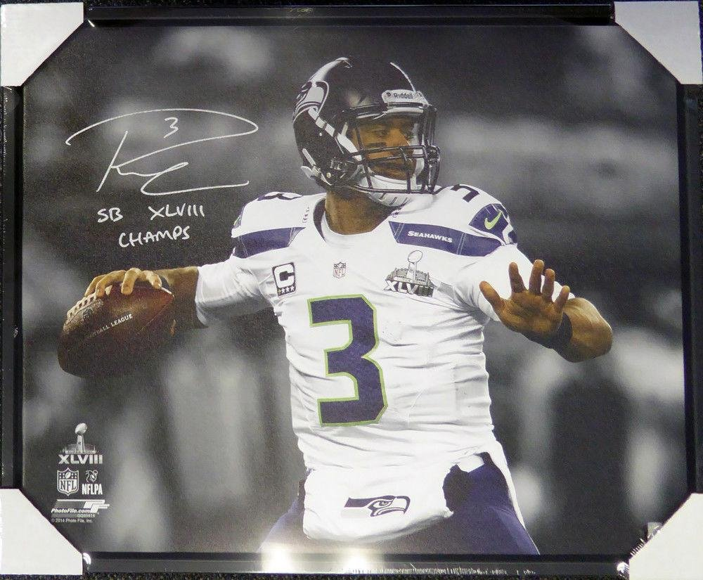 Russell Wilson Autographed Signed Framed 24x30 Canvas Photo Sb Champs Rw 107483 Autographed NFL Art