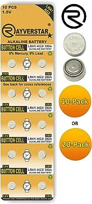 Rayverstar LR41 AG3 1.5 Volt Alkaline (10-Batteries) Fits: 392, 192, SR41, 384, 736, L736F (Full List Below)