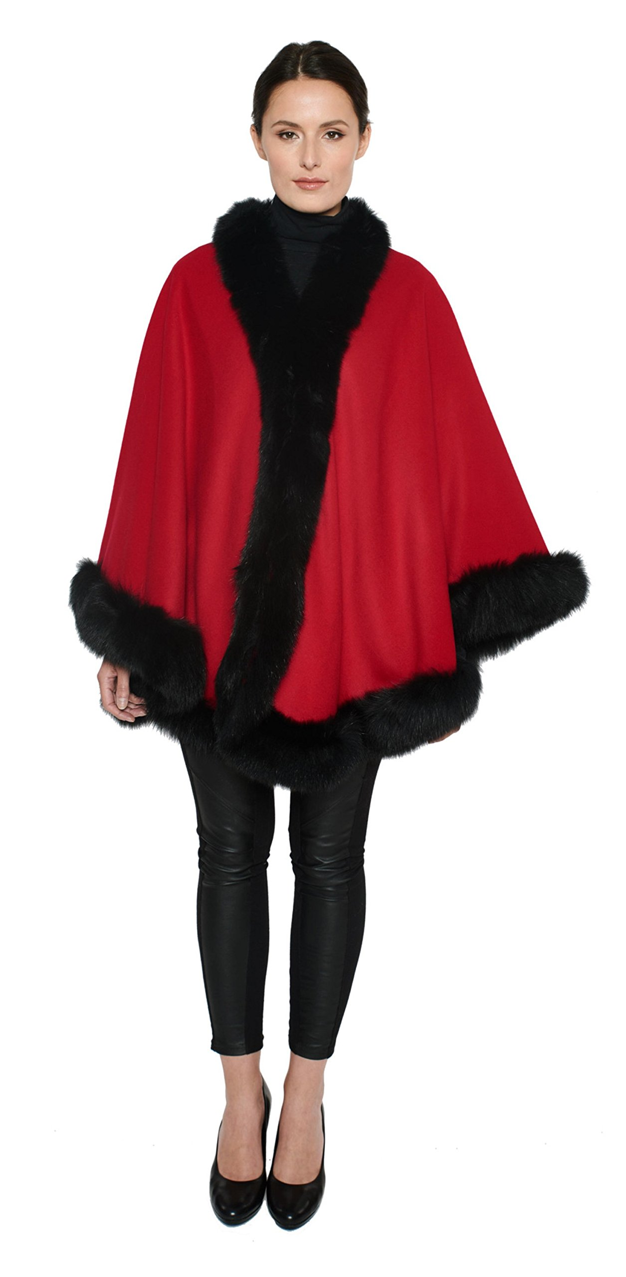 Cashmere Pashmina Group: Cashmere Cape with genuine Fox Fur Trim all around (Lipstick Red/ Black) by Cashmere Pashmina Group (Image #1)