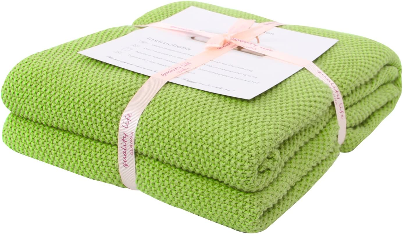 Adory Sweety Throw Blanket Moss Stitch Solid Soft Sofa Couch Decorative Knitted Blanket,50 x 60 inch, As Gift with Free Washing Bag (Grass Green)