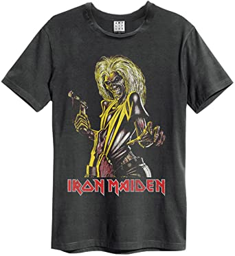 cb7e91a82a2f Amplified Iron Maiden - Killers - Mens Charcoal T Shirt  Amazon.co ...