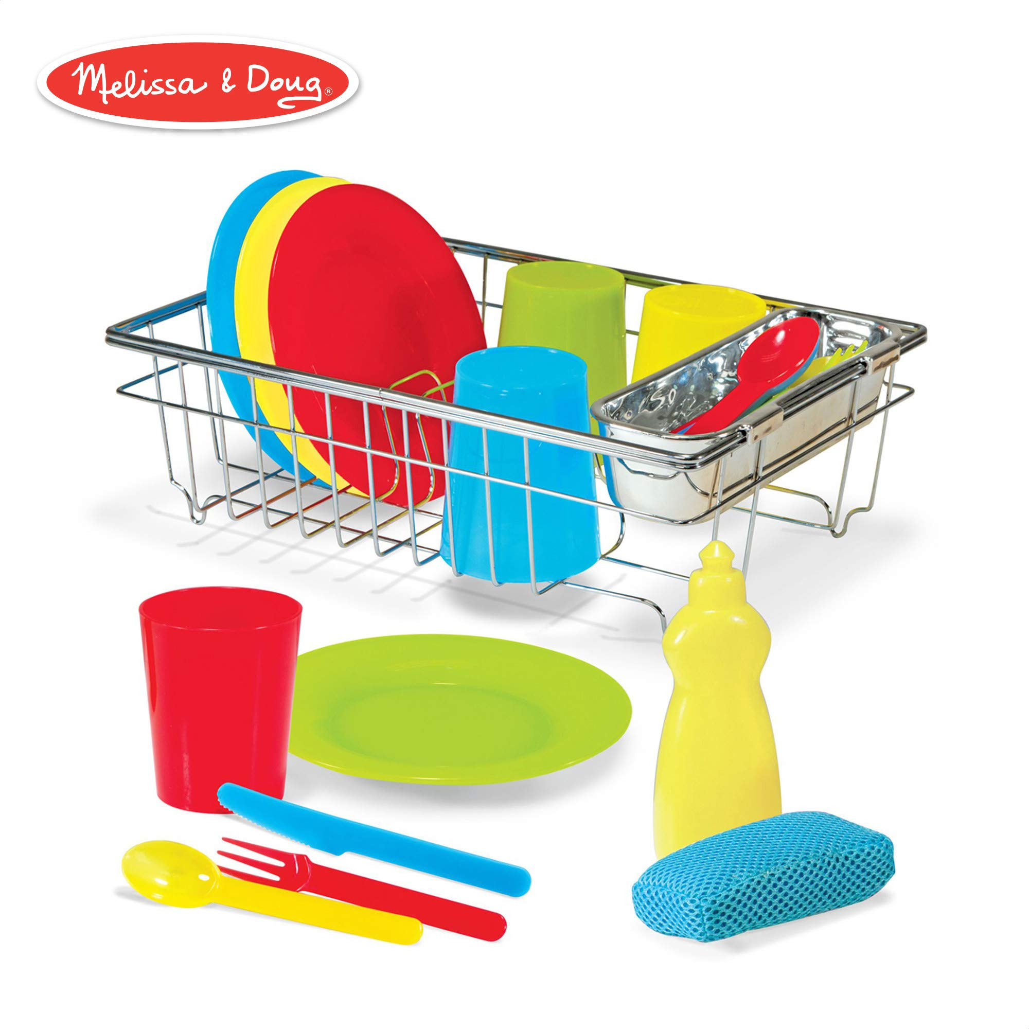 Melissa & Doug Let's Play House! Wash & Dry Dish Set, 4 Place Settings, Use with Kitchen Set or Stand-Alone, 24 Pieces, 4'' H x 11.5'' W x 8.5'' L