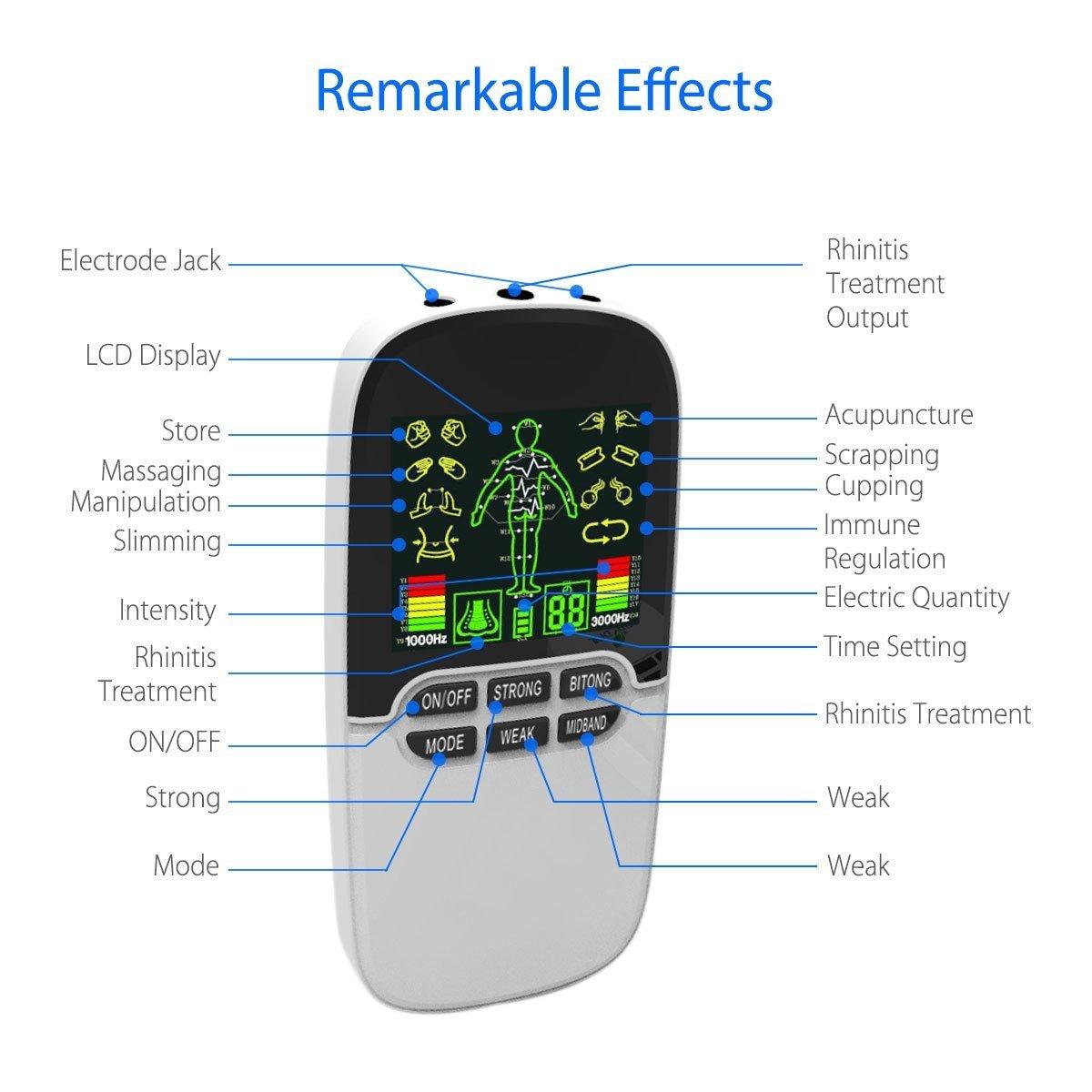 Electrostimulateur Masseur /électrique Appareil amincissant Patch Vibrant /électro-stimulation avec 4 /électrodes /Électrostimulateur Tens pour Soulager,Masseur de dos Tens EMS Soulagement des Douleurs