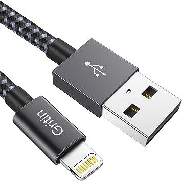 Gritin Cable Lightning Cargador iPhone, 2M [Apple MFi Certificado] Carga Rápida Nylon Trenzado Primera Calidad para iPhone 11 Pro/XR/XS MAX/XS/X/8/7/6S Plus/5S/5C/5/iPad Pro/iPad: Amazon.es: Electrónica
