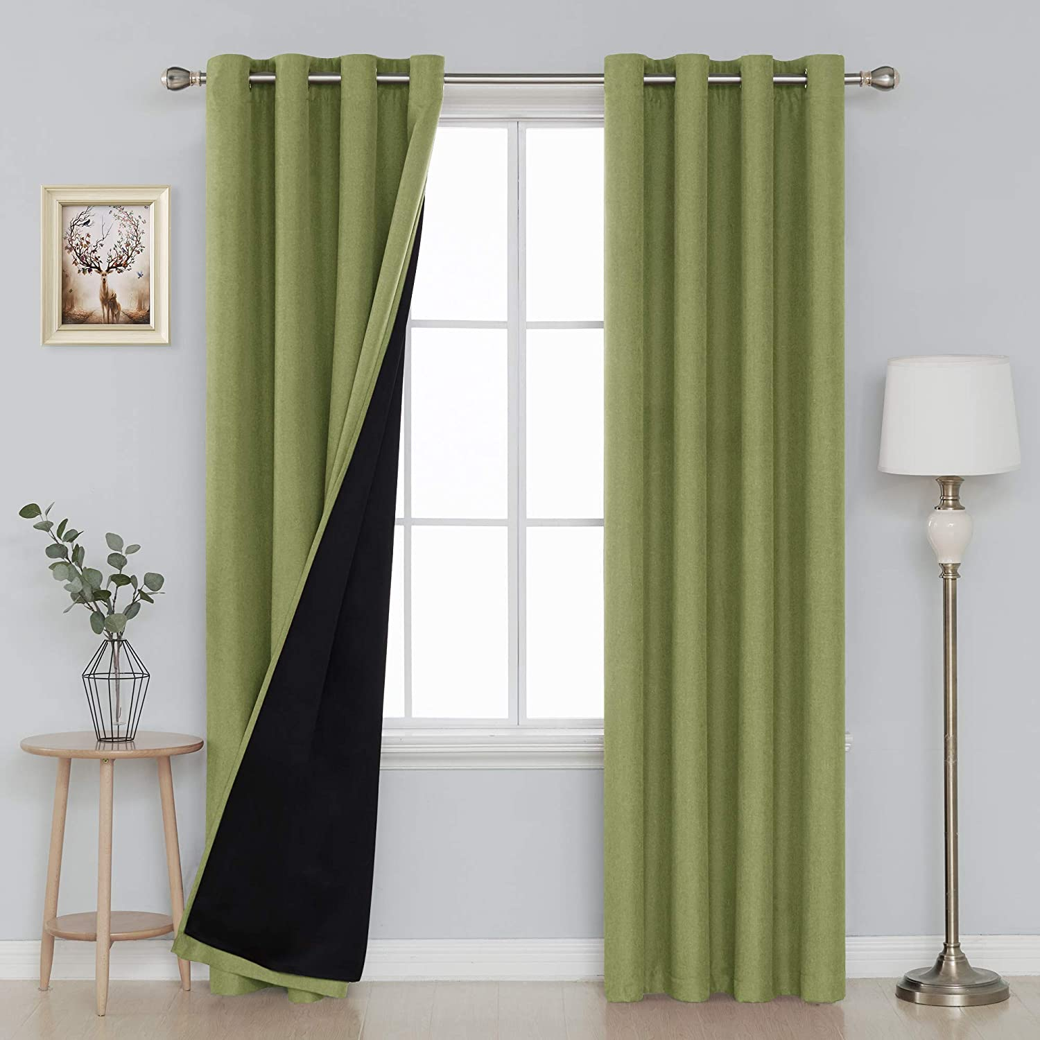 Deconovo Double Layer Blackout Curtains with Grommet Top Textured Linen Look Curtains for Dining Room 52x84 Inch Green, 2 Panels