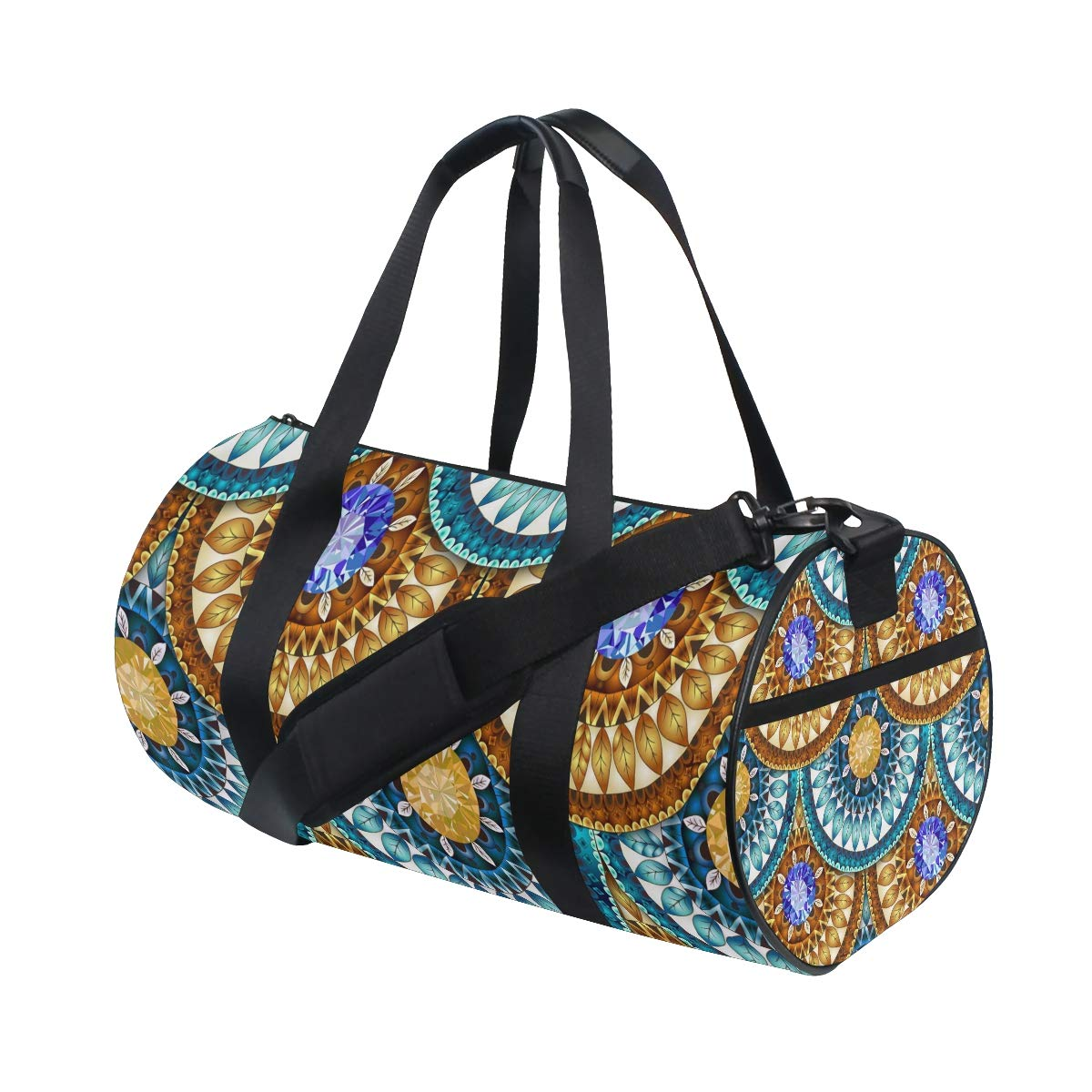 WIHVE Geometric Pattern In Fish Scale Sports Gym Bag Travel Overnight Duffel Bag for Men and Women