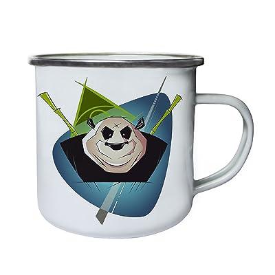 Panda bambou arbre art Rétro, étain, émail tasse 10oz/280ml y686e