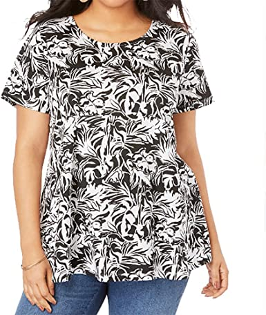 Women Plus Size Summer Graphic Blouse Short Sleeve O-Neck Loose T-Shirt Floral Print Top