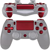 eXtremeRate Replacement D-pad R1 L1 R2 L2 Triggers Touchpad Action Home Share Options Buttons, Scarlet Red Full Set Buttons Repair Kits with Tool for PlayStation 4 PS4 Slim PS4 Pro CUH-ZCT2 Controller