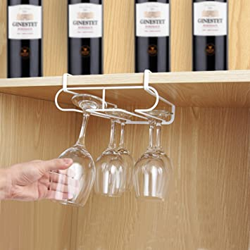 BEGOST Wine Glass Rack 2 Rows Stemware Holder Under Cabinet Wine Cup Rack  Holder With Easy