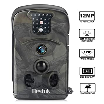 Bestok Cámara de Caza 12MP HD para Vigilancia Visión Nocturna 120 °Gran Angular Impermeable CAM Trail IR Invisible PIR Infrarrojo Sensor de Movimiento hasta ...