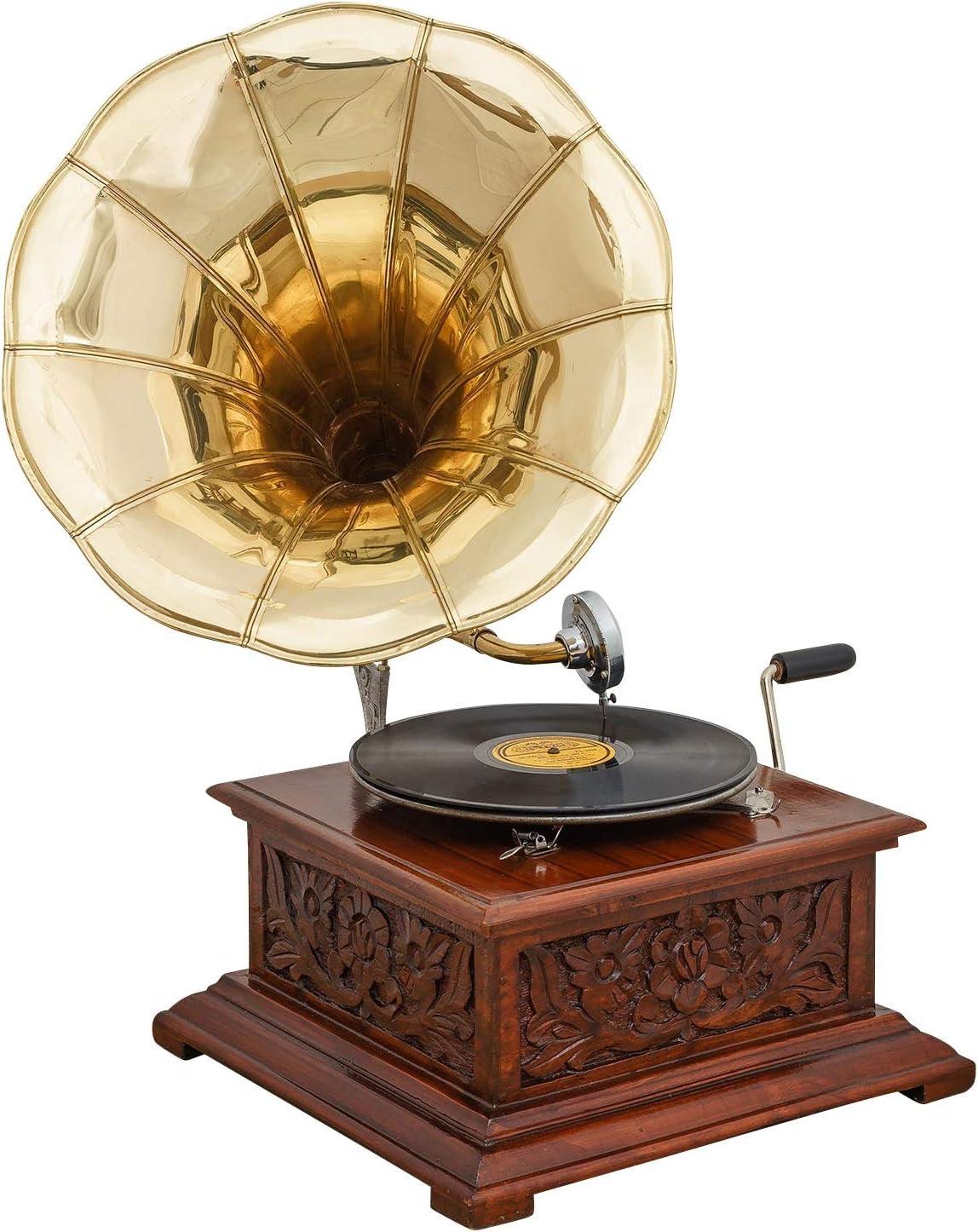 c aubaho Gramophone avec pavillon pour Disque 78 Tours Style Antique