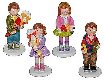3 D Figur Madchen Mit Schultute 9 5 Cm Tischdeko Aus Kunstharz Zur