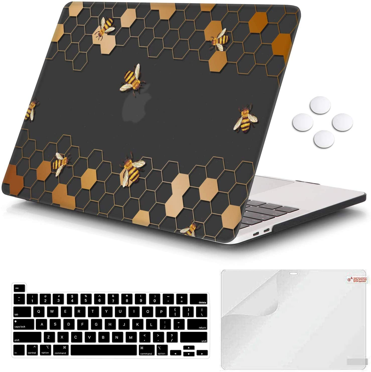 iCasso MacBook Pro 13 inch Case 2020 Release A2251/A2289, Plastic Hard Shell Case & Keyboard Cover & Screen Protector Only Compatible Newest MacBook Pro 13'' with Touch Bar - Honeycomb