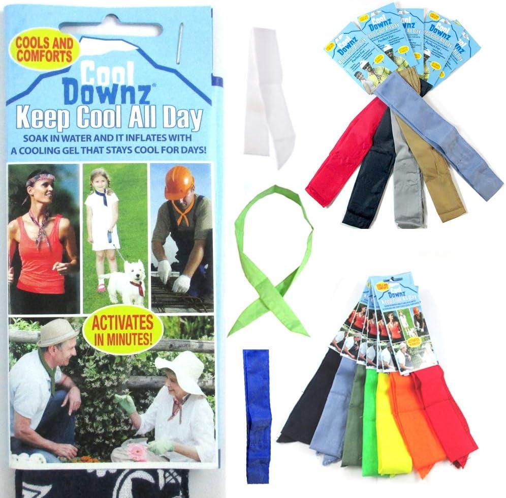 6 Pc Cooling Towel Bandana Headband Chilly Pad Water Cool Downz Head Neck Heat