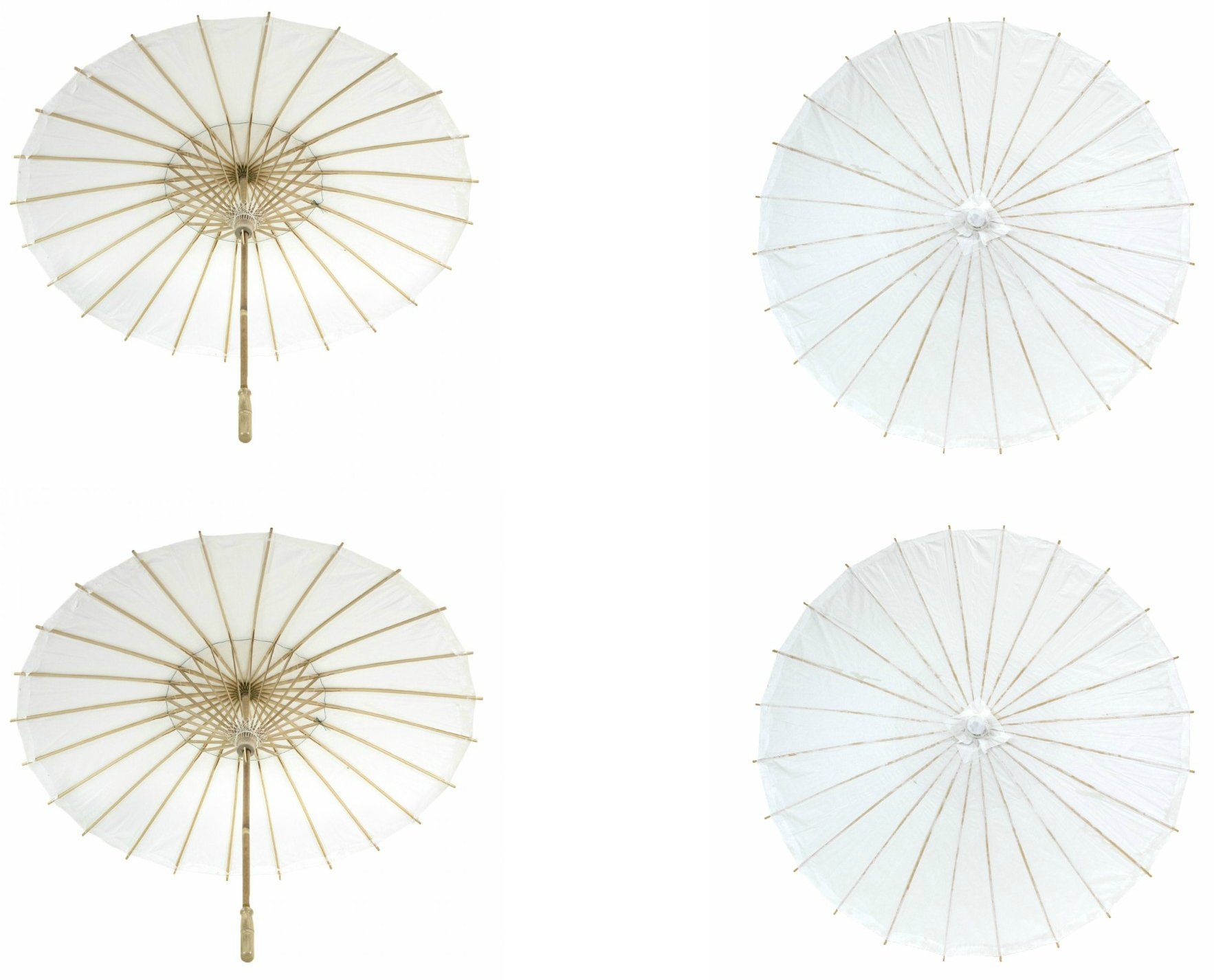 Koyal Wholesale 32-Inch Paper Parasol, 4-Pack Umbrella for Wedding, Bridesmaids, Party Favors, Summer Sun Shade (4, White)