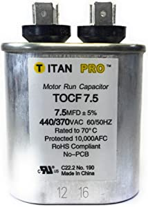 Motor Run Capacitor, 7.5 MFD, 2-3/4 In. H
