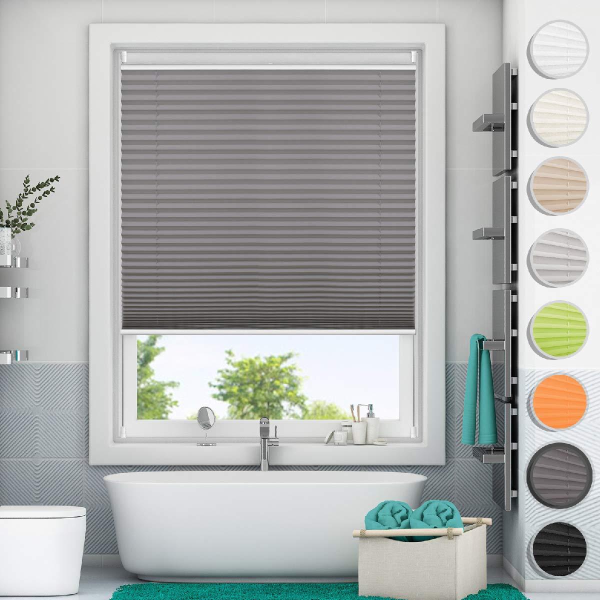 Magiea Pleated Roller Blinds Semi-Shielding blackout Window Shade 35x100 cm Beige Klemmfix Easy Fix Curtain Ajustable Faltstore