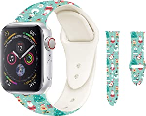 Hi-Yoohere Chic Breathable hristmas Party Pattern Bands Compatible for Apple Watach 42mm 44mm, Grade Soft Silicone Sports Wristband Strap for iWatch SE & Series 6/5/4/3/2/1