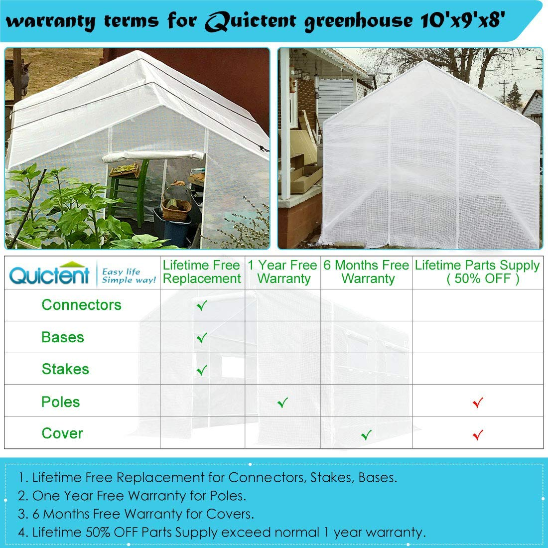 Quictent KMS - Toldo 2 puertas 12 juego 10 x 9 x 8 portátil desmontable de gran tamaño de efecto invernadero verde jardín caliente casa: Amazon.es: ...