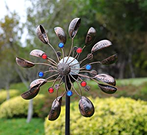 XingTong Solar Wind Spinners - Solar Powered Sculptures with Color Changing LED Glass Ball 360° Kinetic Yard Wind Spinner Swivel Metal Large Decor for Patio Lawn & Garden