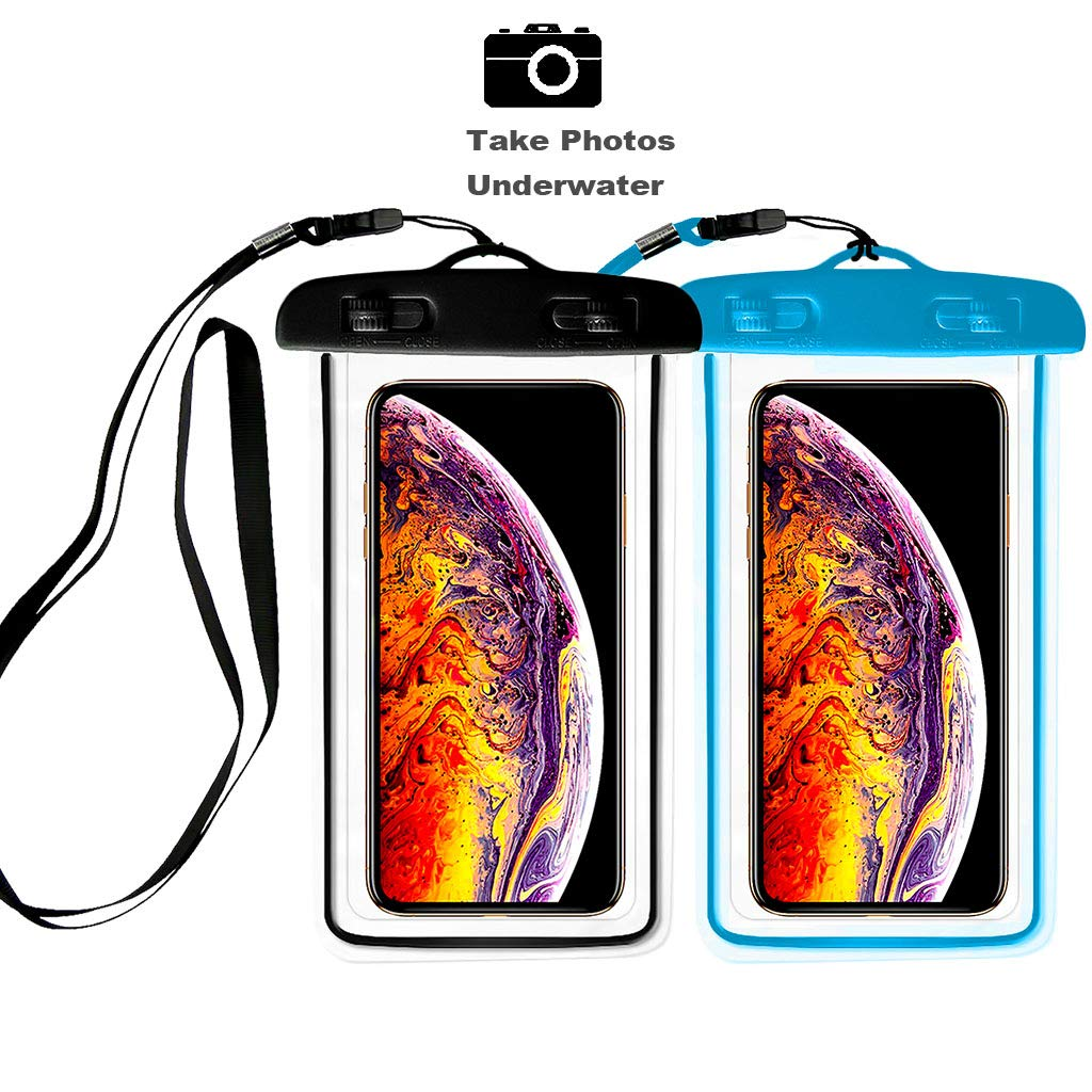 """[2pack] Universal Waterproof Case, IPX8 Waterproof Phone Pouch Dry Bag Compatible for iPhone Xs Max/XS/XR/X/8/8P/7/7P Galaxy,Upto 6.0"""" Diagonal, Protective Pouch Pools Beach Kayaking Bath_Black+Blue"""