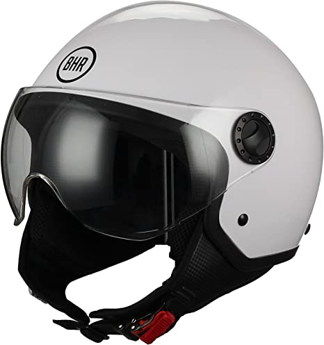 Casco Moto Jet BHR 801 Pelle C Rivestito Nero