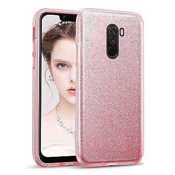 Coovertify Funda Purpurina Brillante Rosa Xiaomi Pocophone F1, Carcasa Resistente de Gel Silicona con Brillo Rosa para Xiaomi Pocophone F1