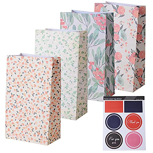 AONER (23*13*8cm) 24pcs Sachets Kraft Pochette Sac Cadeau d'Emballage avec Autocollant en Motif Fleurs pour Mariage Anniversaire Fete (4 Motifs, 6 sachets par Motif)