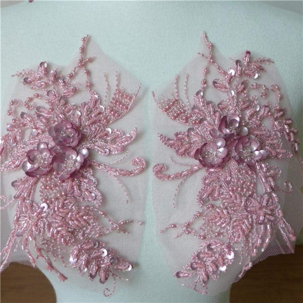 1 par de flores 3D bordado de encaje collar de perlas con cuentas de malla de encaje apliques vestido de novia decoración escote floral parche disfraz, malva