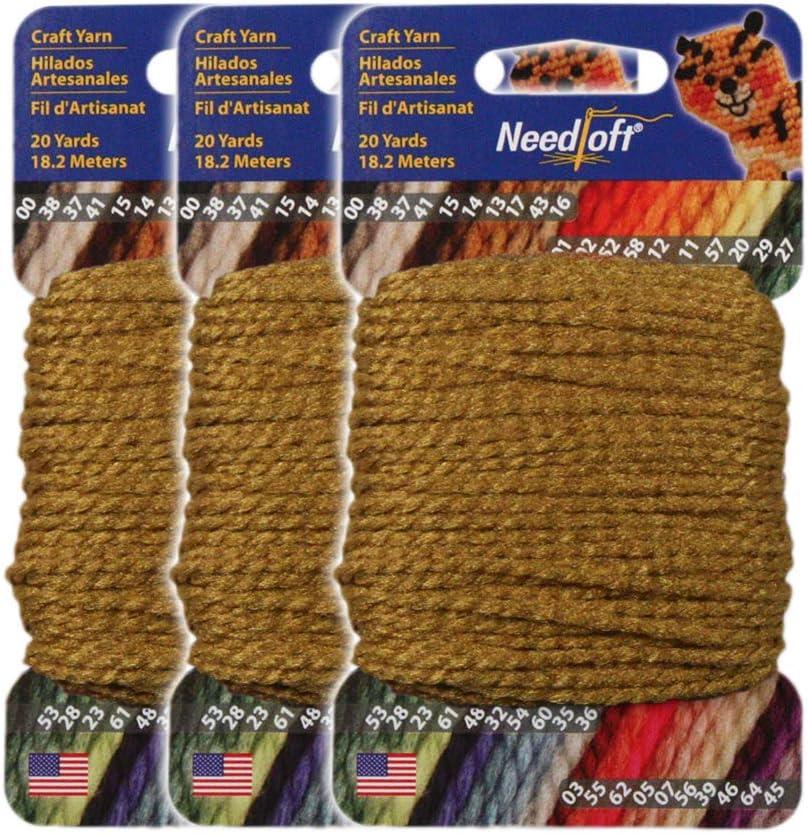 #17 goldenen - Needloft Craft Yarn 3 Pack 60 Yards