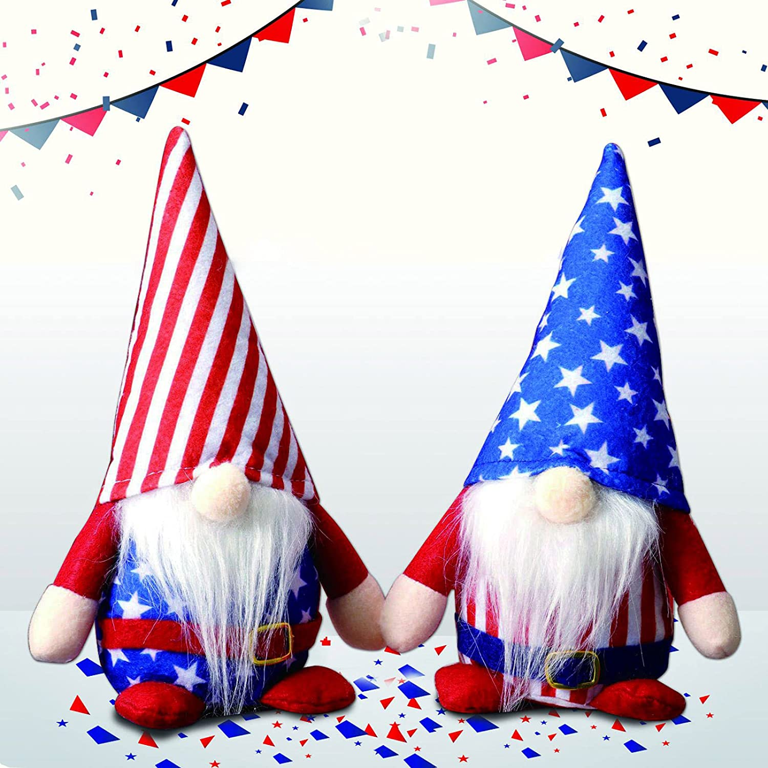 2Pcs 4th of July Patriotic Gnomes Plush Decorations - Handmade Couple Handmade Swedish Tomte Gnomes Ornaments for Independence Day Veterans Day Tabletop Decor, Fourth of July Party Home Decorations