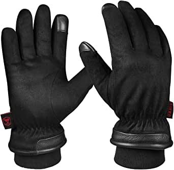 OZERO Waterproof Winter Gloves Touchscreen Elastic Cuff Windproof Thermal Snow Ice Proof Warm Gifts for Men Dad Black