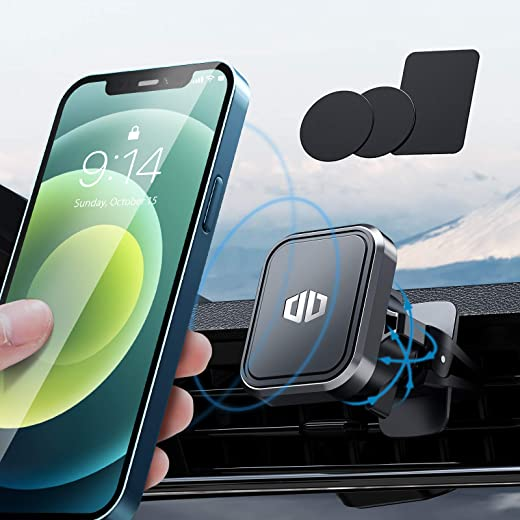 Magnetic Phone Car Mount, [6 Strong Magnets] DesertWest Universal Car Phone Holder Air Vent Mount 360°Adjustable Phone Holder for Car Fit for iPhone 12 Pro Max/11/X/XR/Samsung S21 Galaxy & All Phones