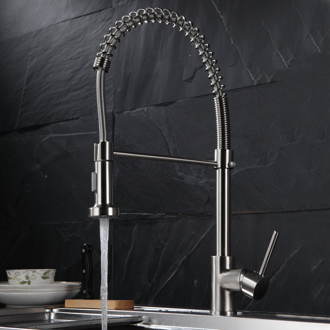 Fapully Commerical Spring Pull Down Faucet Single Handle Kitchen ...