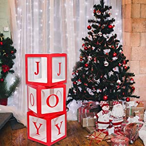 Christmas Decorations Red JOY Box,Transparent Joy Party Boxes Christmas Ornaments Blocks For Fireplace Christmas Tree Decorations Home Decor Holiday Party Decorations