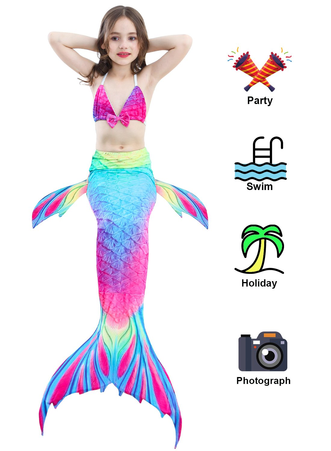 Camlinbo 3PCS Girls' Swimsuit Mermaid Tail for Swimming Tropical Bikini Set Support Monofin by Camlinbo (Image #4)