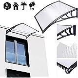 Koval Inc. 3 ft DIY Overhead Clear Outdoor Awning Patio Cover Door Window Polycarbonate Modern Design UV Rain Sunshine (3 FT, Black)
