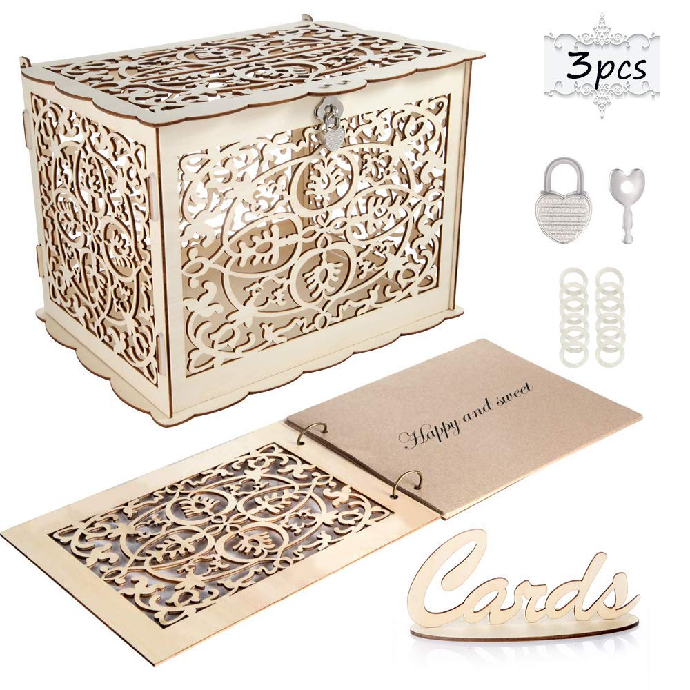 Coodoo Wedding Decorations Card Box and Guest Book Clover Wooden Card Holder Money Box with Security Heart Lock Rustic Supplies for Reception Wedding Baby Shower Birthday Graduation Anni by Coodoo