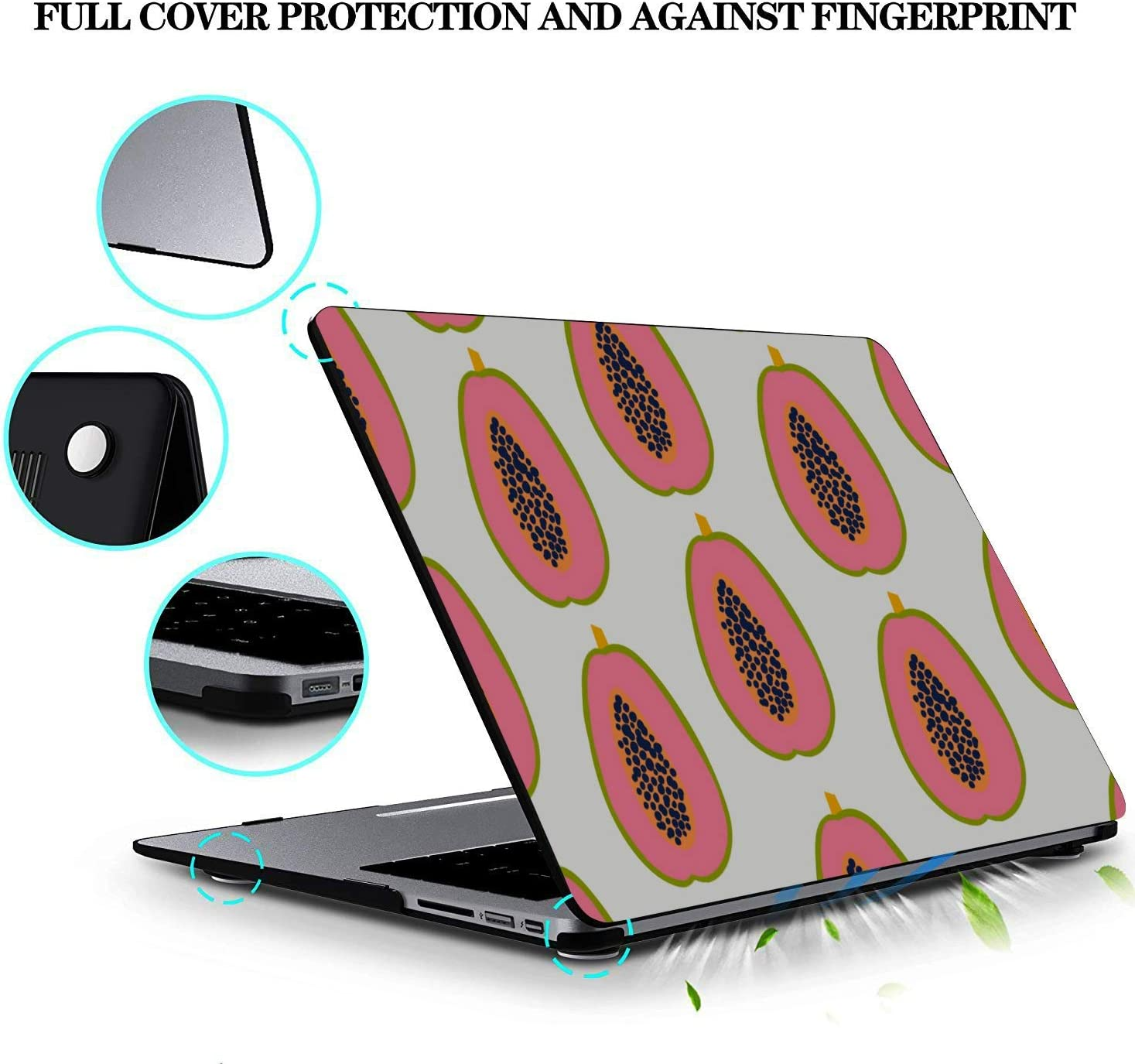 MacBook Pro Retina Case Summmer Cute Fashion Fruit Papaya Plastic Hard Shell Compatible Mac Air 11 Pro 13 15 Case MacBook Air 13 Protection for MacBook 2016-2019 Version