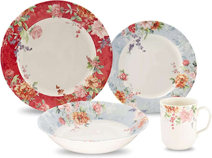 Tudor Royal Collection 24 Piece Premium Quality Porcelain Dinnerware Set Service For 6 Crimson See 10 Designs Inside Dinnerware Sets Amazon Com
