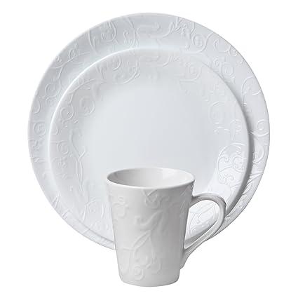 Corelle Embossed Bella Faenza 16-Piece Dinnerware Set Service for 4 White  sc 1 st  Amazon.com & Amazon.com   Corelle Embossed Bella Faenza 16-Piece Dinnerware Set ...